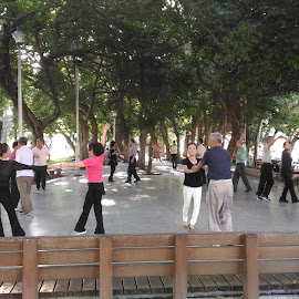 Dancing in the Park by Jed Mitter - City,  Street & Park  City Parks ( dancing, taipei, city park )