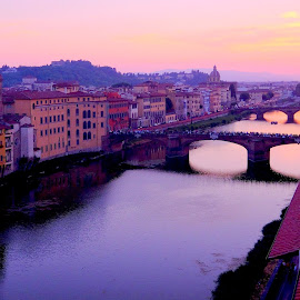 arno river at sunset by Fred Goldstein - City,  Street & Park  Night ( florence, sunset, view, italy, city, river )