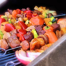 Grillin'! by Becky Luschei - Food & Drink Cooking & Baking ( kabobs, steak, tasty, grill, food, scewer, vegetables, grillin' )