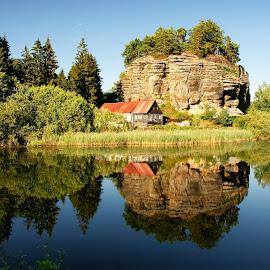 Rock castle reflection by Petr Germanič - Landscapes Waterscapes ( water, castle, rock )