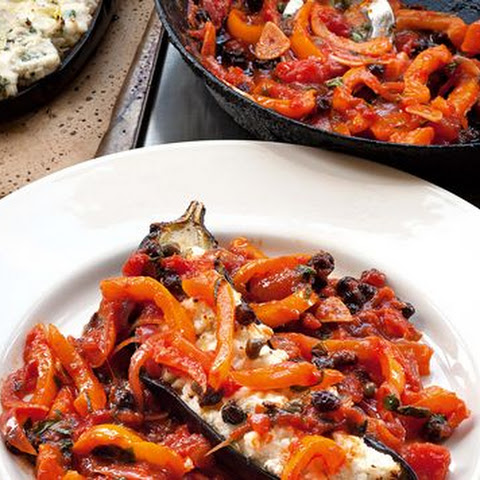 Aubergine with ricotta, Parmesan and orange pepper