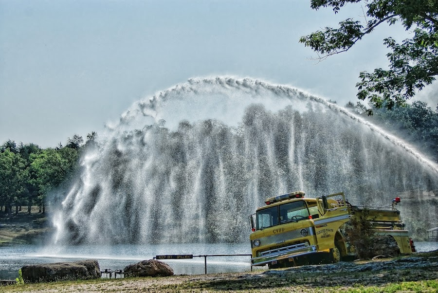 Practice And Airation by Richard  Friedle - News & Events World Events ( waterscape, firetruck, lake )