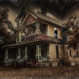 Haunted Pascagoula Mansion by Dave Walters - Digital Art Abstract ( hauntings, ghosts, digital art, artistic, house, paranormal )
