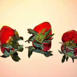 by Judy Laliberte - Novices Only Objects & Still Life ( red, green, strawberries, reflections, light )