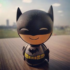 Cute Batman  by Vishal Jha - Artistic Objects Toys ( office, indoor, batman, bokeh, black )