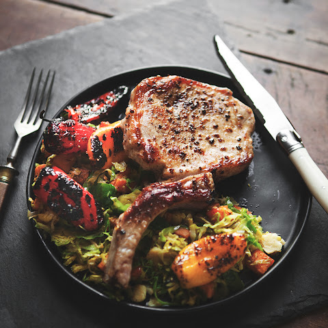 Brown Butter Pork Chops, with Sweet Potato Brussels Sprouts Hash and Roasted Peppers