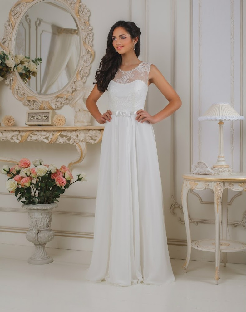 Свадебное платье греческого стиля с кружевами