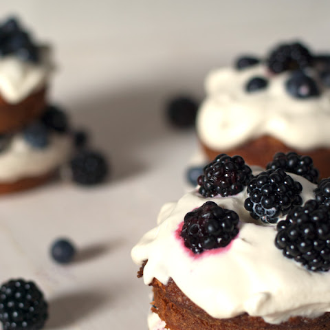 Blackberry Mini Cakes with Fresh Whipped Cream