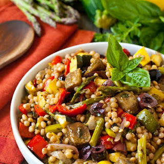 Israeli Couscous Salad with Mediterranean Roasted Vegetables