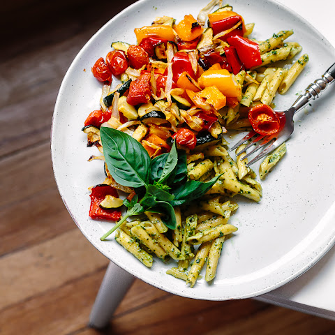 Hemp Seed + Flax Oil Basil Pesto w/ Penne & Roasted Vegetables