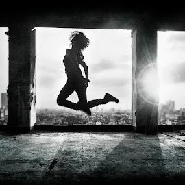 Jumper by Miko Adji - Digital Art People ( building, monochrome, sunset, texture, woman, fine art, conceptual )