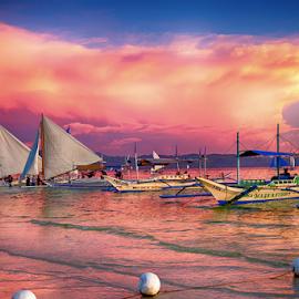 Boracay boats by Michael Karakinos - Transportation Boats
