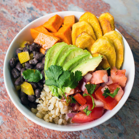 Cuban Rice and Bean Bowl with Fried Plantains and Sweet Potatoes