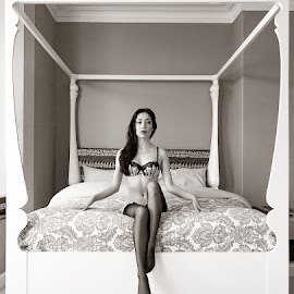 Four Poser by Ian Cartwright - Nudes & Boudoir Boudoir ( erotic, chair, nude, lingerie, buxton, photographer ian cartwright caramel photography, woman, bed, boudoir, naked, bedroom )