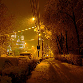 by Izvorul Muntelui Bicaz - City,  Street & Park  Night