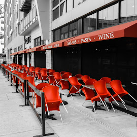 Red Chairs by Richard Michael Lingo - Buildings & Architecture Other Exteriors ( building, red, chairs, architecture, restaurant,  )