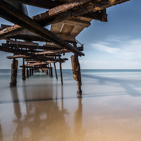 Time road by Haim Rosenfeld - Landscapes Beaches ( old, mystery, yellow, beach, travel, long, drama, contemplate, shot, middle, unreal, time, frozen time, sky, nature, spiritual, movement, pier, place, surreal, light, foreground, climate, orange, dream, colors, texture, soul, mood, image, atmosphere, horizon, shape, picture, scene, moody, lines, bridge, view, natural, shore, exposure, dynamic, colorful, waterscape, land, line, beauty, frozen, israel, landscape, coast, sun, mediterranean, dreamlike, path, tide, dramatic, long exposure, east, wet, nikon, water, atlit, seashore, waves, beautiful, sea, seascape, scenic, photo, great, blue, outdoor, brown, scenery, milky, stunning )