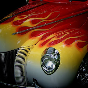 Old Flame by Christy Leigh - Transportation Automobiles ( car, flames, classic car, red, vintage, automobile, yellow )