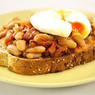 Home Made Baked Beans with Poached Egg
