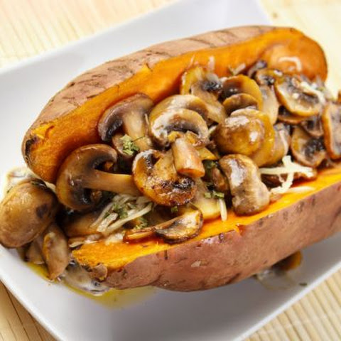 Rosemary Sautéed Mushroom Baked Sweet Potatoes
