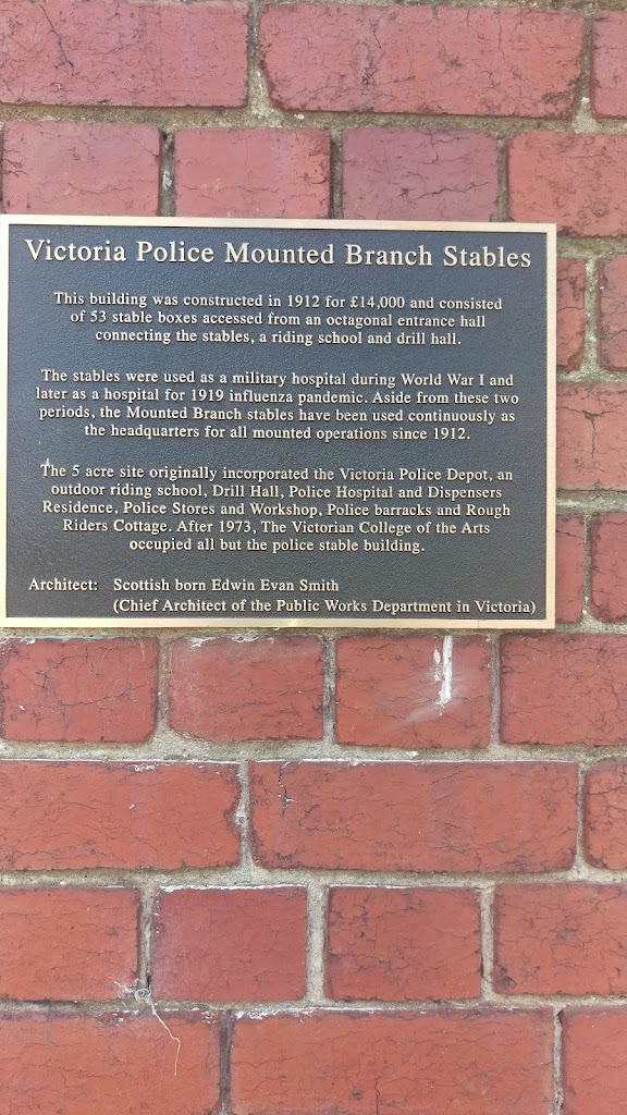 The horses have recently moved out and the builders are in so no idea if this will be here much longer. The punctuation is terrible. Plaque reads: 'Victoria Police Mounted Branch Stables The building ...
