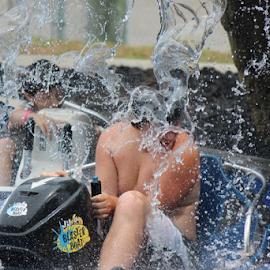 Getting wet by Tracey Guaiana - Babies & Children Children Candids ( playing, kidsofsummer, waterfall, kids )
