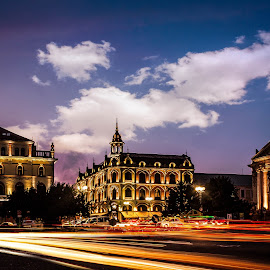 City by Adam Freundlich - City,  Street & Park  Night ( lights, car, bluehour, clouds, sky, traffic, blue, cars, sunset, night, architecture, city, city at night, street at night, park at night, nightlife, night life, nighttime in the city )