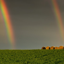 Double Rainbow on the Fields by Emanuele Zallocco - Landscapes Prairies, Meadows & Fields