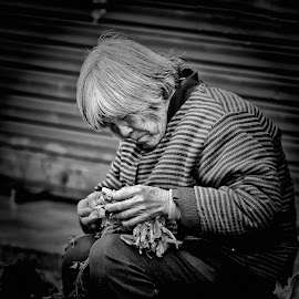 The Vegetable Lady by Freddy Ng - People Street & Candids ( portraiture, black and white, lady, shanghai, street photography, china )
