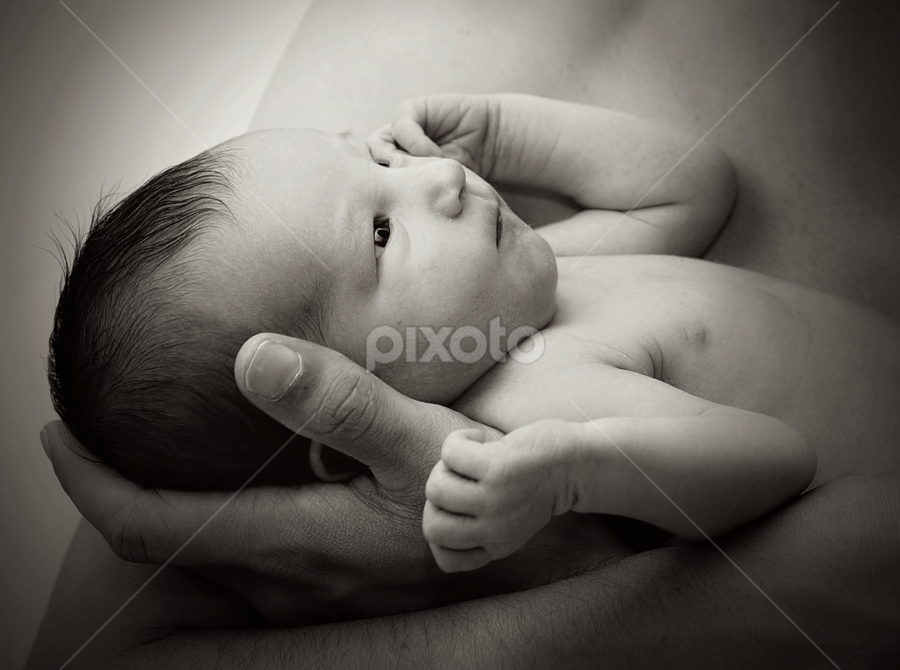 New born by John Cuthbert - Babies & Children Babies ( love, new, beauty, black ad white, born, infant, todler, cute, mono, baby, tot, arms, child )