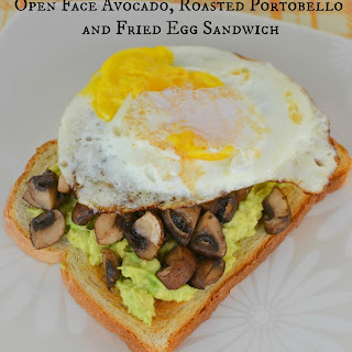 Open Face Avocado, Roasted Portobello and Fried Egg Sandwich