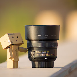 Danbo With best lens by Mohamed Mahdy - Artistic Objects Still Life ( f/1.8, still life, 50mm, nikon d, lens, lens flare, sun, danbo, toy, cormozy, danboard, color, best, nikon )