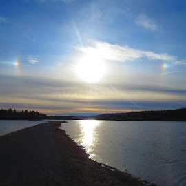 Double Sundog by Richard Crosier - Landscapes Sunsets & Sunrises ( reservoir, nature, sunset, sundog, landscapes,  )