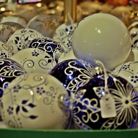 Blue and white by Ciprian Apetrei - Public Holidays Christmas ( blue, globes, white, christmas, brittany )