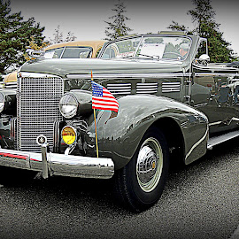 '38 Convertible Touring Cadillac Fully Loaded by Becky Luschei - Transportation Automobiles ( flags, suitcase, '38 convertible touring cadillac, full loaded, road, bumper, antique, top down )