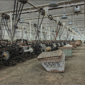 All in a row by Carol Lauderdale - Buildings & Architecture Public & Historical ( cotton mills, working mills, public places, machinery, lancashire )