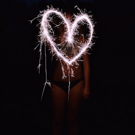 by SJ Leo - Abstract Fire & Fireworks ( sparkler, heart, fireworks, night, pink )