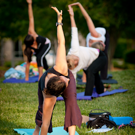 Yoga Class in the Park by Myra Brizendine Wilson - Sports & Fitness Fitness ( fitness, exercise, yoga in the park, yoga )