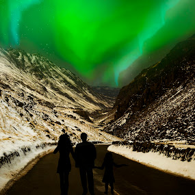 Aurora lights by Angel Weller - Landscapes Weather ( mountains, snow, aura, people, digital )