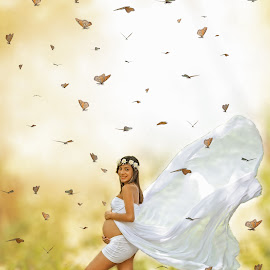 Flying for you! by Suleika Figueroa - Digital Art People ( butterfly, maternity, colors, pregnant, composition, imagination )