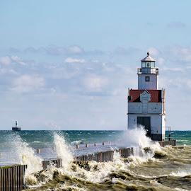 Lake Michigan Waves by John Kehoe - Buildings & Architecture Bridges & Suspended Structures ( shore, wisconsin, michigan, waves, shoreline, lighthouse, lake )