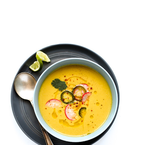 Chilled Vegan Sweet Corn & Cauliflower Bisque with Quick Pickled Veggies