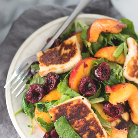 Peach, Cherry and Halloumi Salad