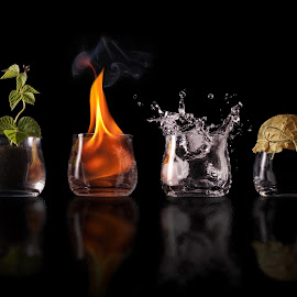 Elements earth fire water air by Jofi Maly - Artistic Objects Other Objects ( water, air, earth, elements, fire )