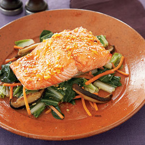 Honey-Soy Glazed Salmon With Bok Choy Recipe — Dishmaps