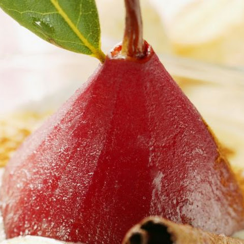 Poached Pear with Cream