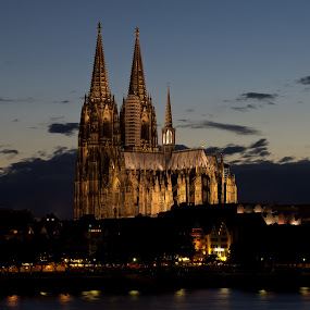 Dom of Cologne Germany by Thomas Stroebel - Buildings & Architecture Public & Historical ( illuminated, cologne, rhein, church, dom, night shot )