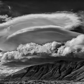 UFO's near Torres del Paine by Daniel Schwabe - Landscapes Cloud Formations ( hill, b&w, cloud, ufo, lenticular )
