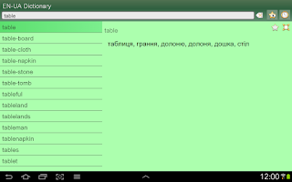 Screenshot of English Ukrainian Dictionary F