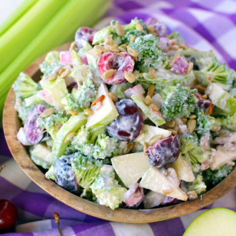 Creamy Broccoli Salad with Apples and Cherries
